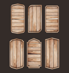 wooden stickers label collection set various vector image