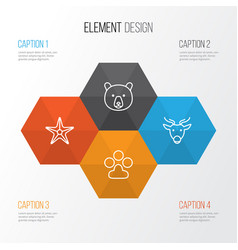 Zoology icons set collection grizzly moose vector