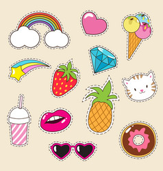 cartoon fashionable girl patches collection vector image vector image