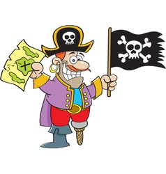 Cartoon pirate holding a map and flag vector