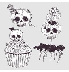Cute tattoo skulls vector image vector image