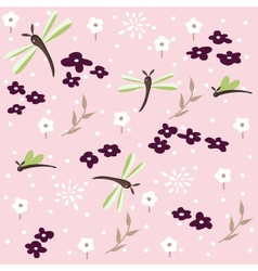 dragonfly seamless floral pattern vector image vector image