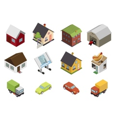 Isometric Retro Flat Cars House Real Estate Icons vector image vector image