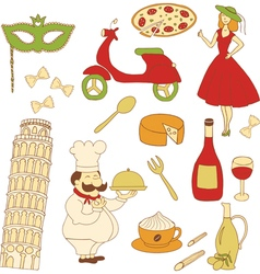 italy colored icons vector image vector image