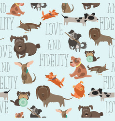 seamless pattren funny mixed breed dogs vector image