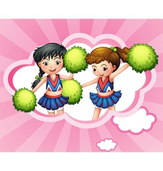 Two cheerers inside a cloud vector image vector image