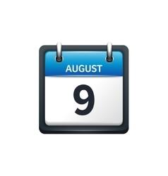 August 9 Calendar icon flat vector image
