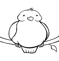 Black and white fat cartoon bird vector image vector image