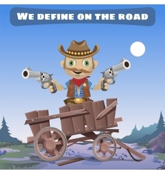 Cartoon character of wild west define on the road vector