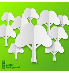 Composition of stylized white paper tree with shad vector image vector image