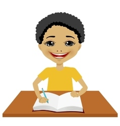 cute little black student boy writing vector image vector image