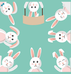 easter bunny cartoon character background vector image