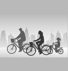 family riding bicycles vector image