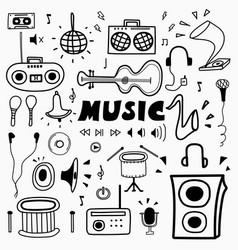hand drawn doodle music set vector image