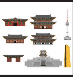 printsouth korea country design flat cartoon vector image vector image