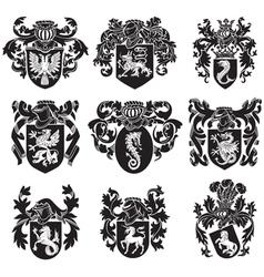 set of heraldic silhouettes No1 vector image vector image