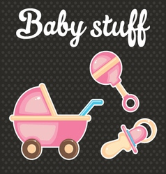Baby scrapbook icon collection vector image vector image