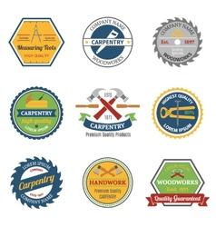 Carpentry color emblems vector image vector image