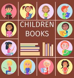 children books pile of letters for reading kids vector image vector image