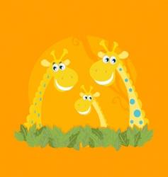 cute giraffe family portrait vector image