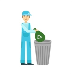 Man Throwing Garbage In Recycle Bin Cleaning vector image vector image