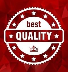red best quality stamp triangular background vector image vector image