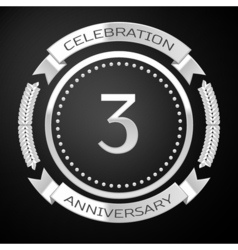 Three years anniversary celebration with silver vector image vector image