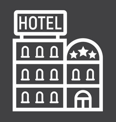 hotel building line icon travel and tourism vector image vector image