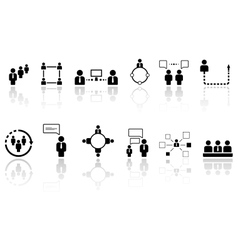 human resource icons with reflection vector image vector image