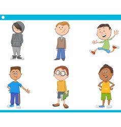kid boys characters cartoon set vector image