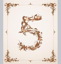 retro vintage letter number in a frame vector image