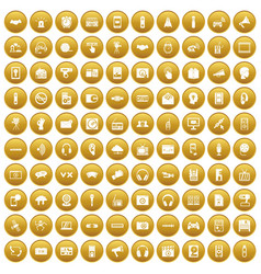 100 audio icons set gold vector image
