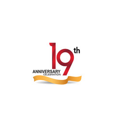19 anniversary design logotype red color vector