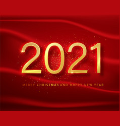 2021 happy new year gold numbers design vector image