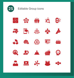 25 group filled icons set isolated on icons set vector