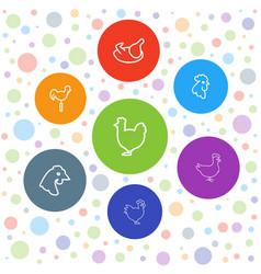 7 cockerel icons vector