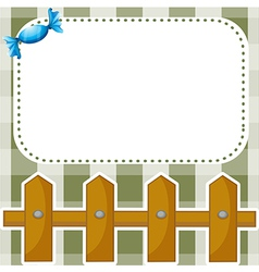 A stationery with a wooden fence and a candy vector
