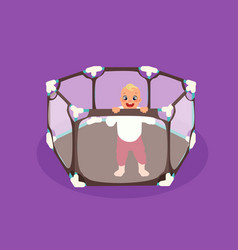 abstract baby playpen with a child inside vector image