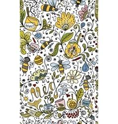 Abstract floral pattern with bees sketch for your vector