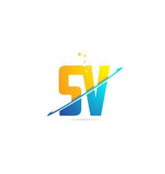 Alphabet letter sv s v combination for logo vector