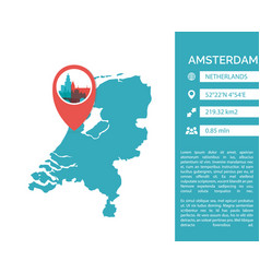 Amsterdam map infographic vector