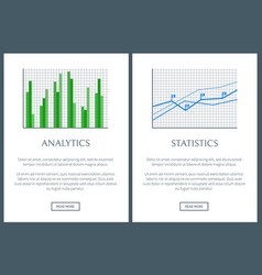 analytics chart and statistics graph color cards vector image