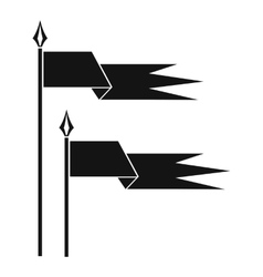 Ancient battle flags icon simple style vector