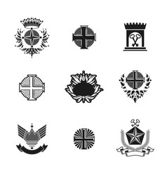 ancient crosses crown stars and flowers emblems vector image