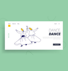 arab turkish dance landing page template whirling vector image