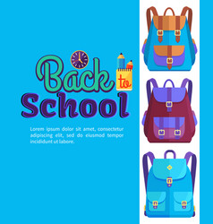 Backpack for child school stationery accessories vector