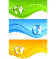 banners with globe vector image