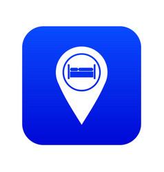 Bed hostel hotel sign icon digital blue vector