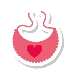 Bib heart baby isolated icon vector