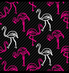 Black and pink striped flamingo bird pattern vector